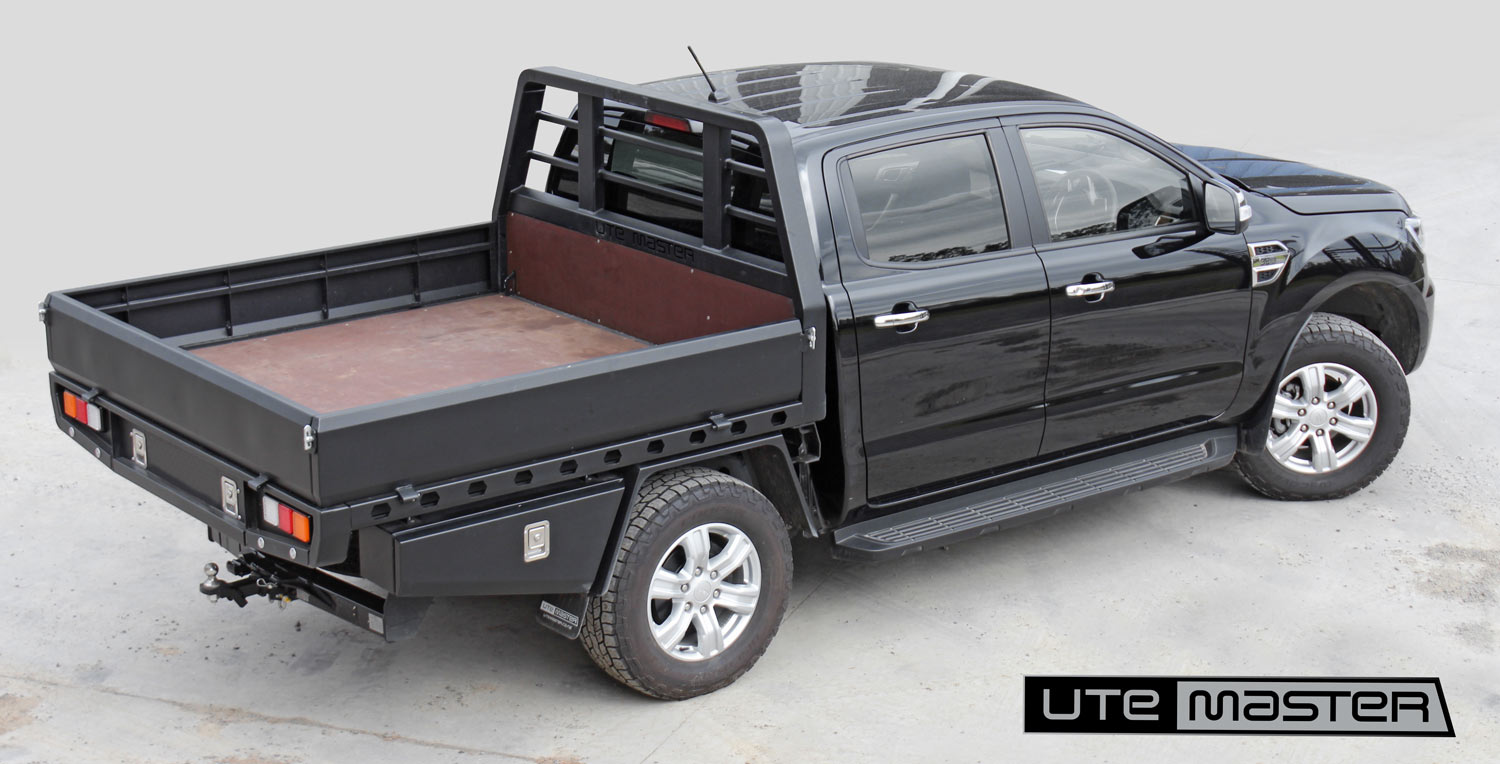 Flat Deck to suit Ford Ranger Steel Ply Black Tough Modern Utemaster Galv Black