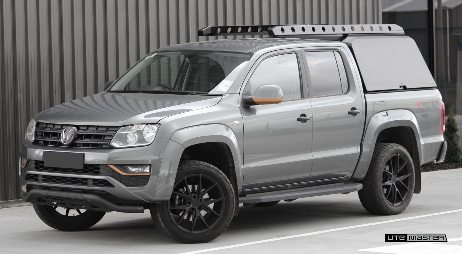 Utemaster Aluminium Canopy Grey Volkswagen Amarok VW Tough Black Roof Tray Racks