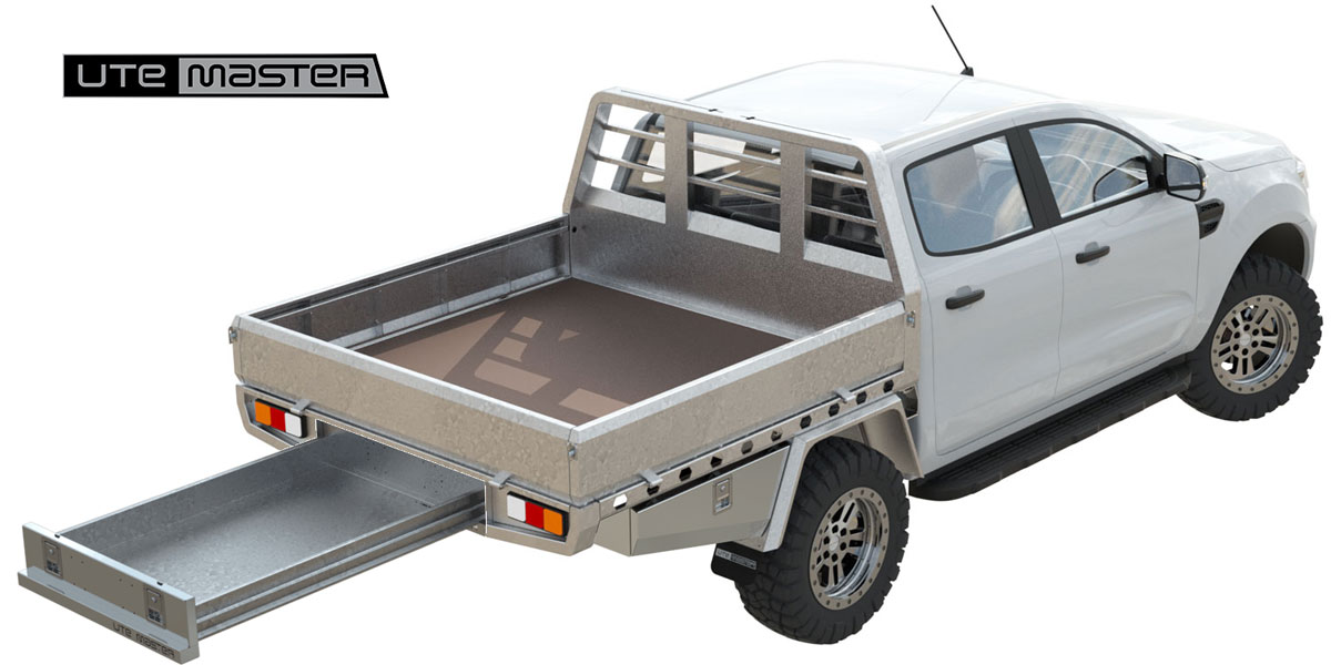 Utemaster Steel Flat Deck Site Master Commercial Ute Tray