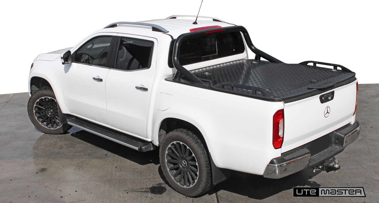 Hard Lid to suit Mercedes Benz X Class Sports Bars Roller Shutter Tonneau Cover Alternative Load Lid by Utemaster Tough White