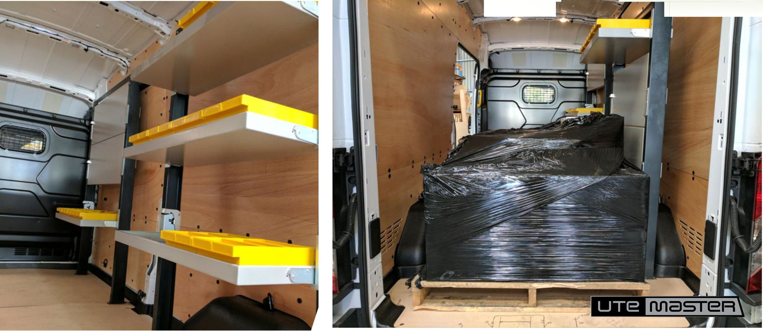 Autosafe Folding Shelving suited to courier vehicles