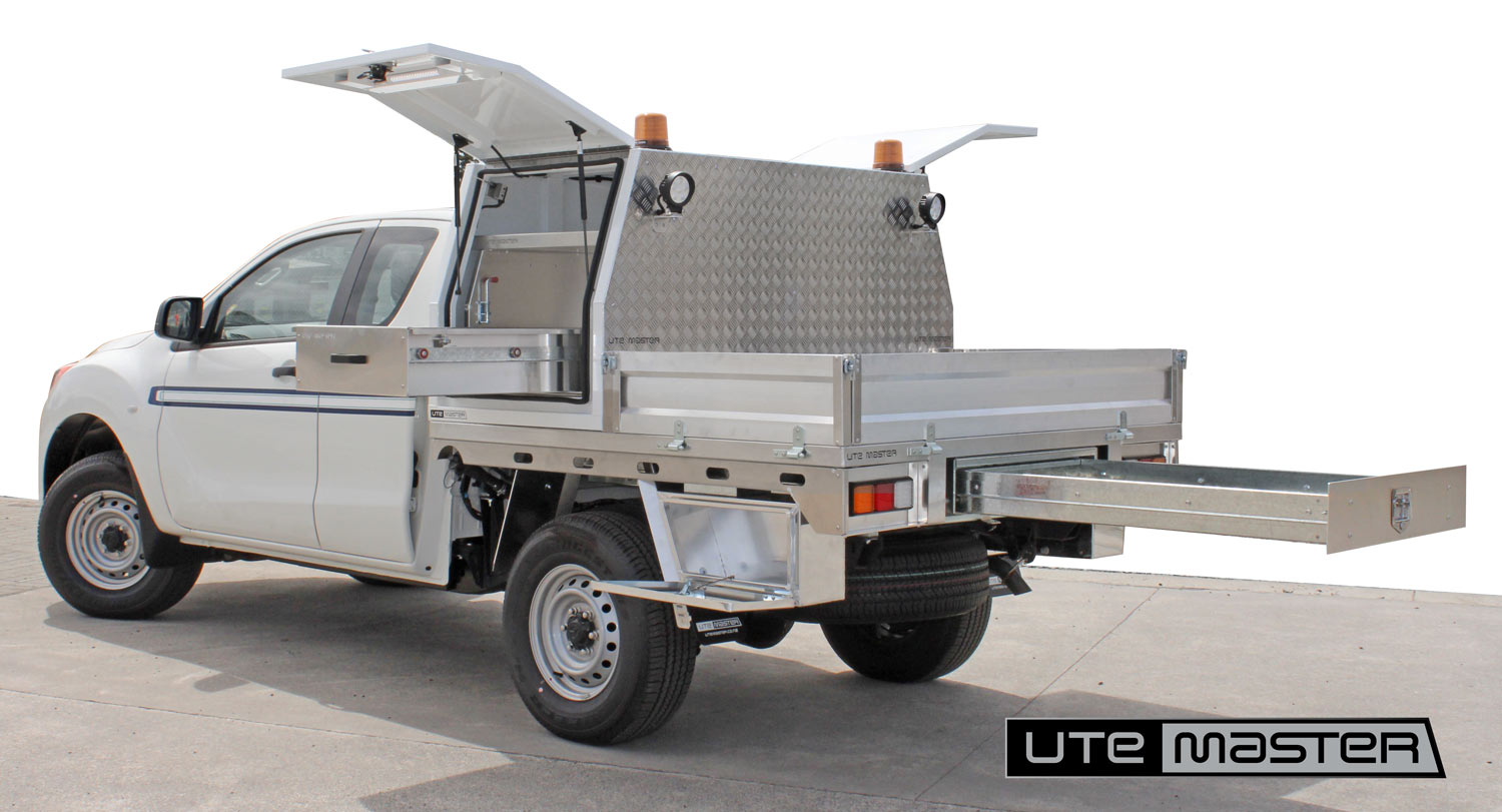 Utemaster Deck and Service Body toolbox service equipment water hydro storage Commercial Ute Mechanic Fitout storage access underbody drawer