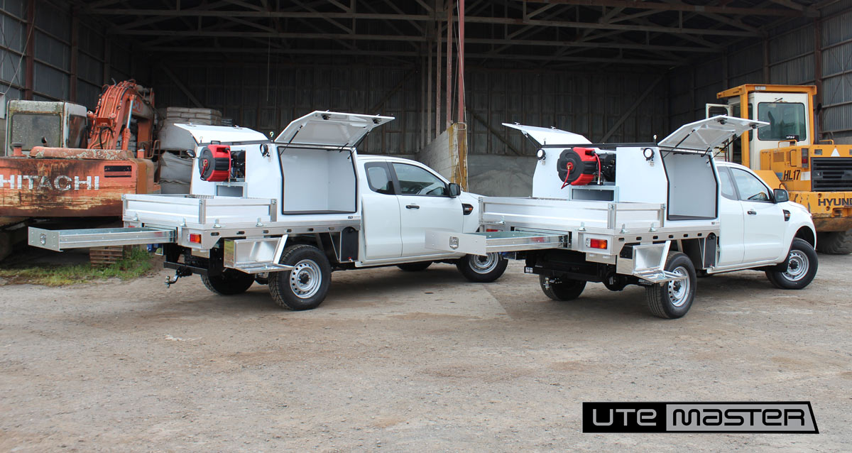 Utemaster Deck and Toolbox Fitout Ladder Racks Storage Lighting Drawers Shelving Service Mechanic