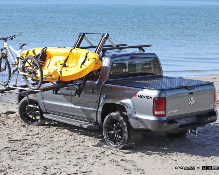 Dropracks by Utemaster Volkswagen Amarok Roof Racks Lowerable Kayak Holder Bike Holder